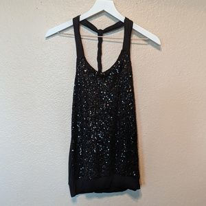 Express size small black sequin top